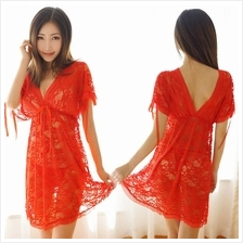 Red Deep V Fashion Lace Sexy Sleepwear S377