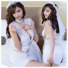 White Lace Wedding Bride Costume Lace Sleepwear Sexy Lingerie S378