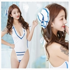 White Blue Sailor Girl Bikini Teddies Costume Sexy. Lingerie U214
