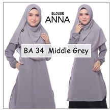 CLEARANCE SALE! Anna Blouse Long Dress Middle Grey Color Muslimah Raya