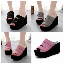 Ready Stock  High Heel KOREAN STRAP VELCRO WEDGES