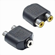 3.5mm AUX Female to 2 RCA Female Audio Adapter