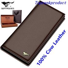 100% Cow Leather Septwolves Man's Wallet Bag Card Slots Money Clips