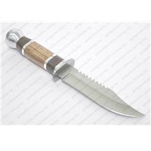 Commando Fixed Blade Knife with Wood Handle 265mm Length