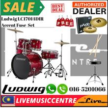 Ludwig LC17014DIR Accent Fuse 5-Piece Drums Set w/Hardware+Throne+Cymb