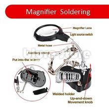 Portable Third Hand Soldering Stand with Magnifier Glass & Led Light