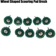 10PCS Wheel Shaped Mini Rotary Polishing Scouring Pad Brush with Handl..