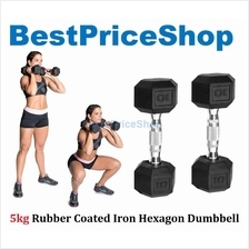 5kg Premium Rubber Coated Iron Hexagon Dumbbell Chrome Bar Fitness Gym