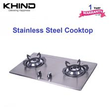 Khind HB802S stainless steel cooktop - 2 burner for LPG gas - 1 yr wrt