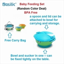 Basilic Feeding Set BPA free silicone spoon sucker bowl