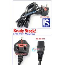 2m I-Sheng SP60 IEC-C13 CPU Monitor Printer Power Cord 10A 250V Fused 3 Prong