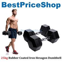 25kg Premium Rubber Coated Iron Hexagon Dumbbell Chrome Weight Lifting