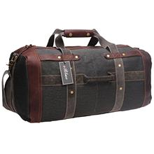 6f458ec69e iblue Travel Duffel Bag Durable Canvas Leather Travel Gear Carry-on Tote  Shoul