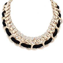 ELEGANT RHINESTONE DECORATED KNITTED LAYERED DESIGN PENDANT NECKLACE FOR WOMEN