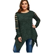 PLUS SIZE MARLED RIPPED SLEEVE HANDKERCHIEF TOP (DEEP GREEN)