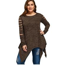 PLUS SIZE MARLED RIPPED SLEEVE HANDKERCHIEF TOP (COFFEE)
