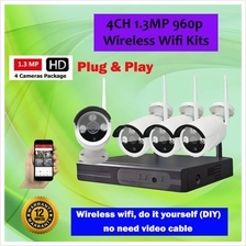 4CH HD 960P 1.3MP Wireless WIFI CCTV IP Camera Kits
