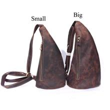 Men Crazy Horse Cowhide Leather Sling Shoulder Cross Body Bag