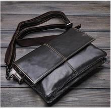 Men Cowhide Leather Small Messenger Bag (Dark Brown)