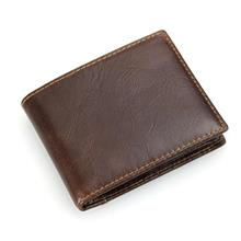 Men Pocket Size Mini Leather Horizontal Wallet (Brown)