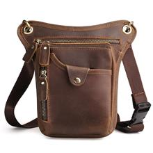 Men Genuine Cow Leather Vertical Sling Shoulder Waist Bag