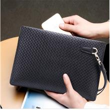 Men High Quality Elegant Synthetic Leather Clutch Bag Black (Design 3)