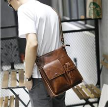 Men Vertical Multiple Pockets PU Leather Shoulder Sling Bag (Brown)