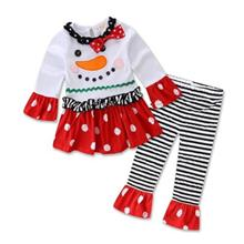 GIRL LONG-SLEEVED CHRISTMAS SNOWMAN STRIPED SUIT