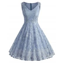 Lace Overlay A Line Dress (BLUE ANGEL)