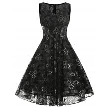 Lace Overlay A Line Dress (BLACK)