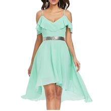 Flounce Open Shoulder Asymmetrical Chiffon Dress (BLUE GREEN)