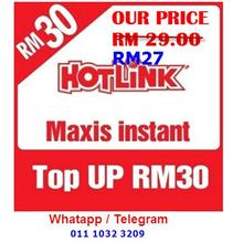 HOTLINK Instant Top UP RM30 @ RM27.00