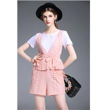European Lace Ruffled Waist Top+Shorts Two-Piece Set [Pre-Order] DRF-5..