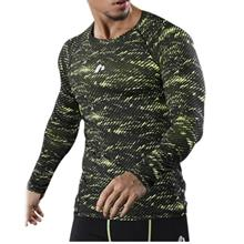 CAMOUFLAGE OPENWORK PANEL QUICK DRY GYM T-SHIRT (GREEN)