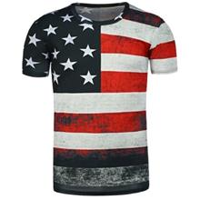ROUND NECK DISTRESSED AMERICAN FLAG PRINT T-SHIRT (BLACK)