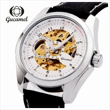 Gucamel Male Auto Mechanical Watch Luminous Genuine Leather Band