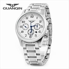 GUANQIN MALE CALENDAR LEATHER QUARTZ WATCH WITH 100M WATER RESISTANT LEATHER B