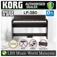 KORG LP-380 88 Key Digital Piano Rosewood Brown with Headphone and Ben