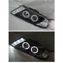Nissan Sentra B14 95-98 Black Projector Head Lamp with Ring