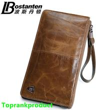 100% Bostanten Cow Leather Man's Long Wallet Money Clips Bag