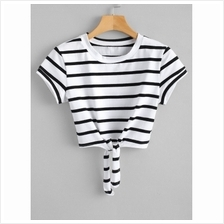 Knotted Stripes Cropped Top (WHITE)