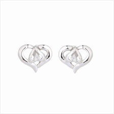 Lazo Diamond Blessed Heart 9K White Gold Diamond Earrings - DE5402)