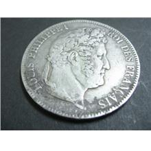 Antique 1855 Silver Coin 5 Francs with Louis Philippe I