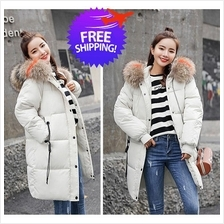 Women Hooded Feather Down Knee Length Winter Autumn Jacket