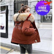 Women Lady Hooded Thick Fur Winter Jacket