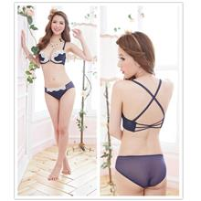 Lovely Beauty-Back Cross Bra Set (Blue)