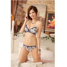 Japan-style Printing Push-Up Bra Set (Blue)