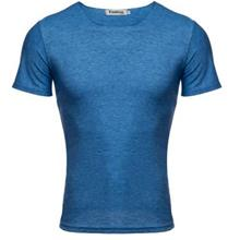 CASUAL ROUND COLLAR SHORT SLEEVE SOLID COLOR COTTON BLEND.T-SHIRT