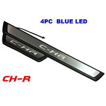 TOYOTA CHR Stainless Steel Blue LED Car Door Side Sill Step Plate