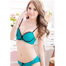 Lovely Lace Front-Tie Push Up Bra Set (Lake Blue)
